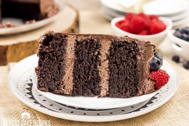 slice of keto chocolate cake on a plate