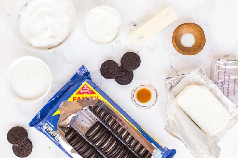 ingredients for oreo cheesecake