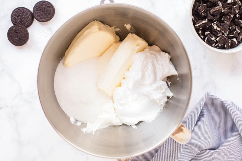 butter, cream cheese and sugar in mixing bowl