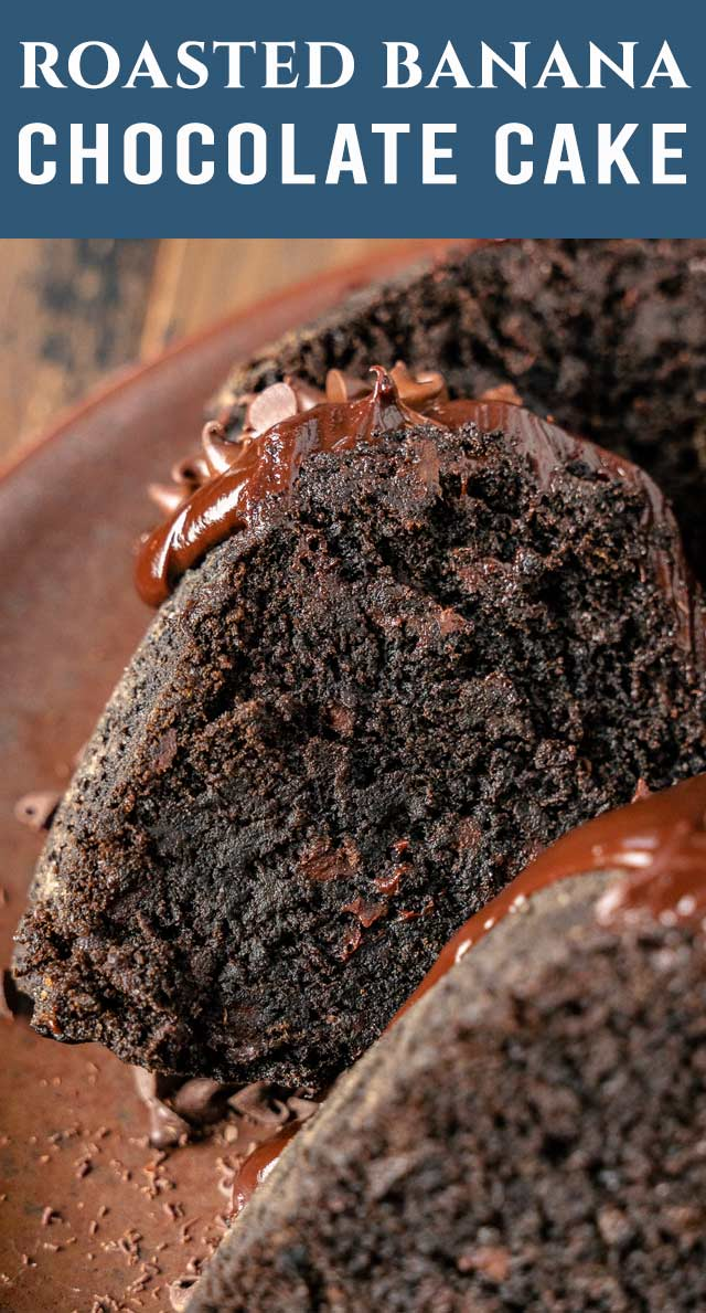 The richest, fudgiest way to use up ripe bananas! Chocolate Roasted Banana Bundt Cake has chocolate chips inside and chocolate ganache on top. via @thebestcakerecipes