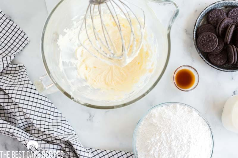 creamed butter in mixing bowl