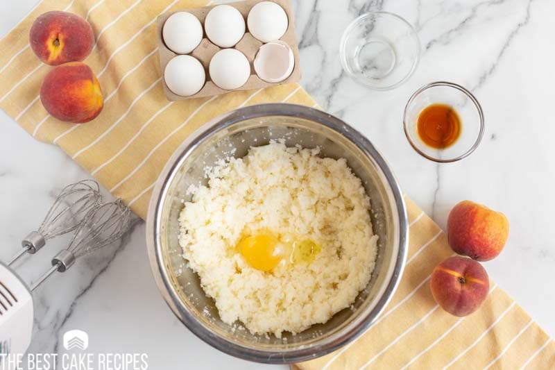 butter, sugar and egg in a mixing bowl