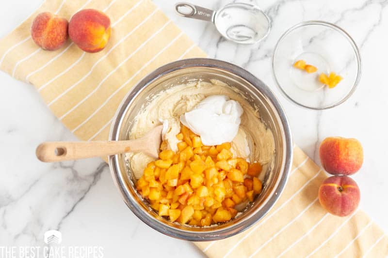 peaches and sour cream in cake batter