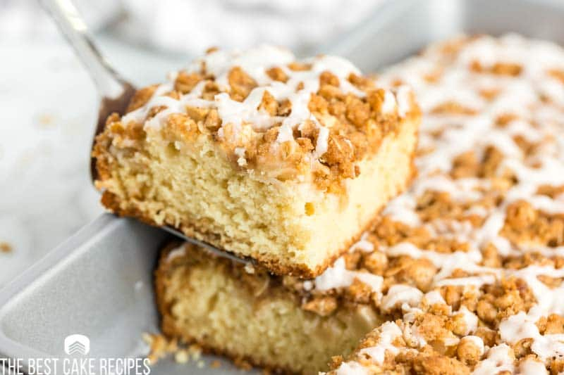 apple crisp cake on a spatula