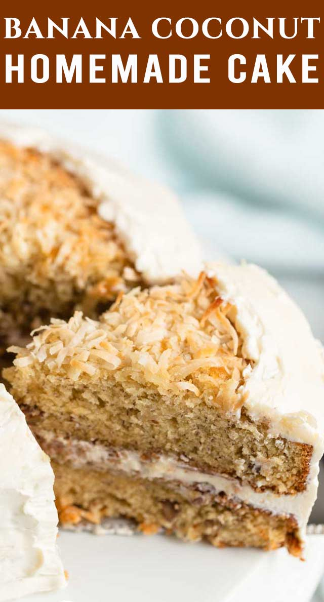 Ultra Moist Banana Coconut Cake with homemade coconut cream frosting. You'll love the lightly toasted coconut on top! via @thebestcakerecipes