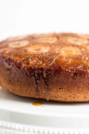 closeup of caramel dripping from banana upside down cake