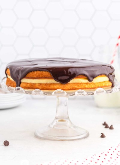 boston cream pie on a cake plate