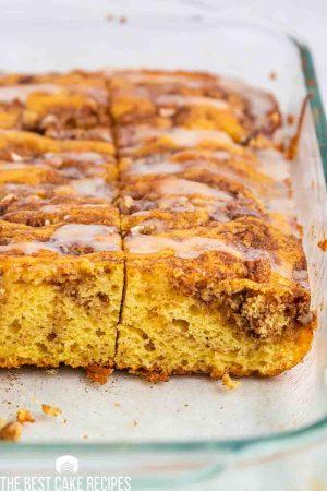 yellow cinnamon cake in a baking pan