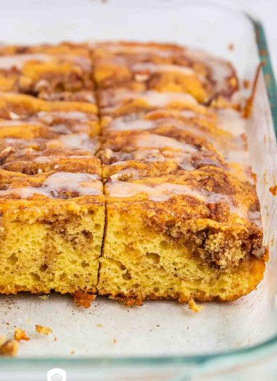 yellow cinnamon cake in a baking pan