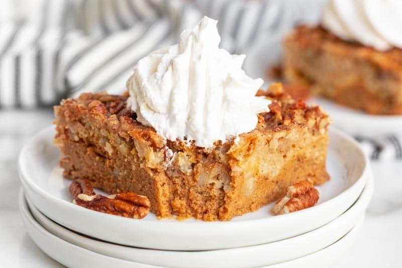 slice of Pumpkin Pie Dump Cake on a plate