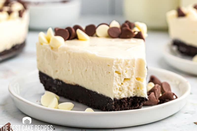 slice of cheesecake with a bite out of it