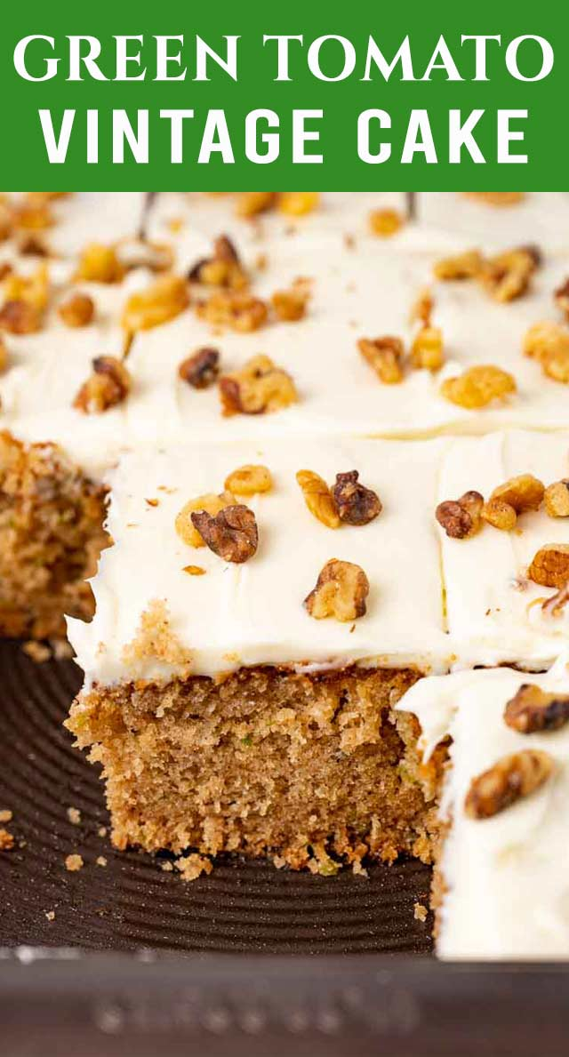 An easy spice cake recipe with a twist. This Green Tomato Cake uses unripe garden tomatoes to add moisture and flavor. Frost with a mouthwatering cream cheese frosting. via @thebestcakerecipes