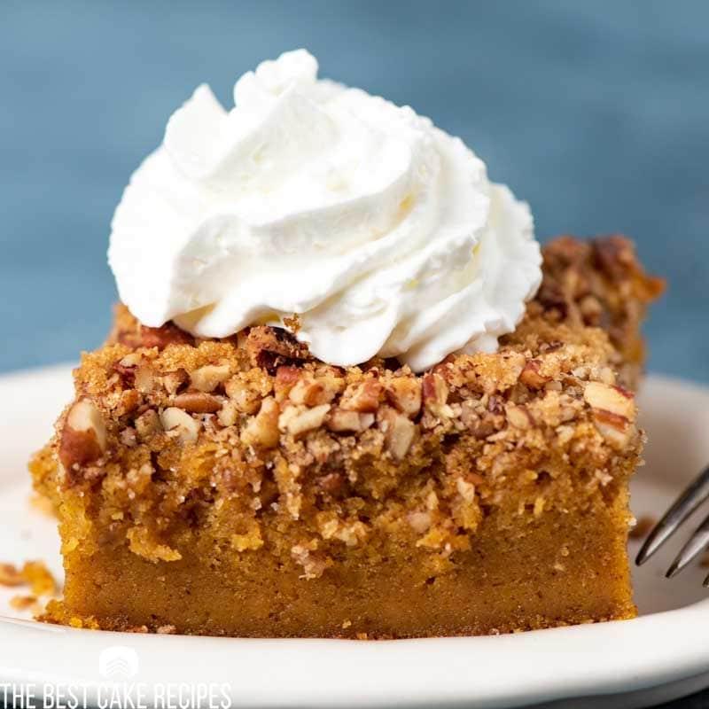 slice of pumpkin pie cake on a plate