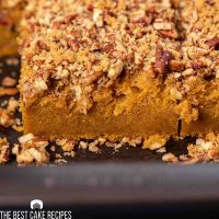 closeup of pumpkin cake in a pan