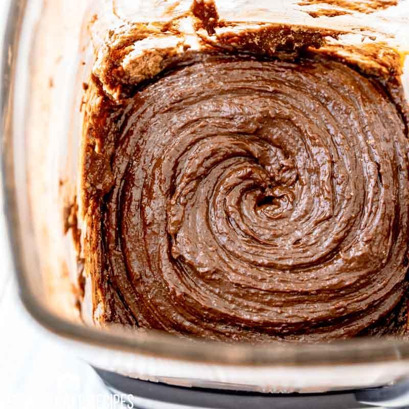 chocolate cake batter in a blender