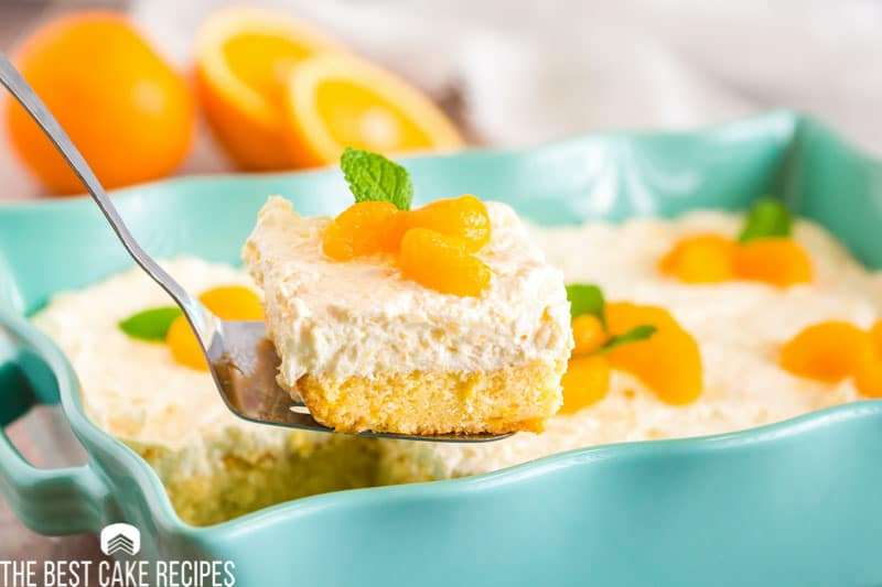 mandarin orange cake on a spatula