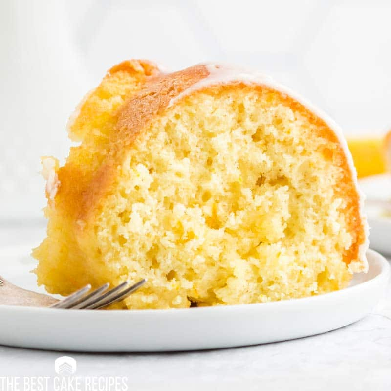 orange bundt cake slice on a plate