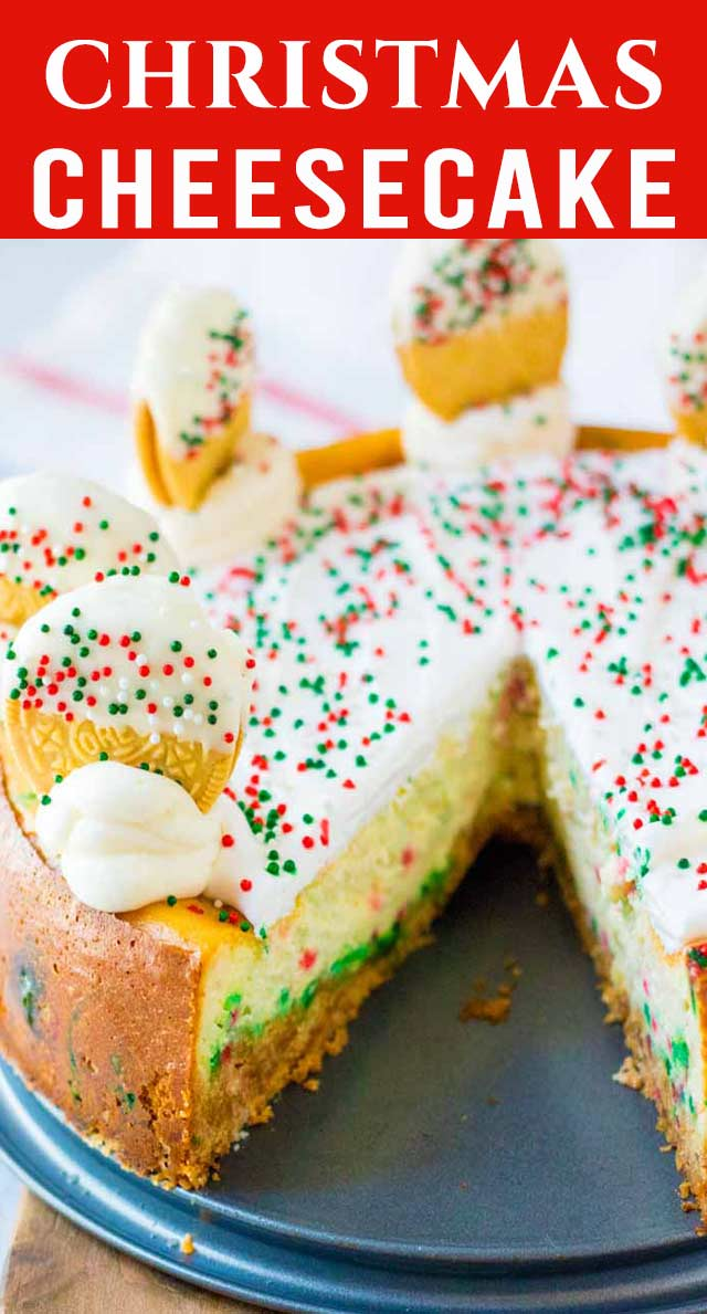 Classic rich cheesecake with a festive look! This Christmas Cookie Cheesecake with sprinkles and Oreos will brighten your dessert table. via @thebestcakerecipes