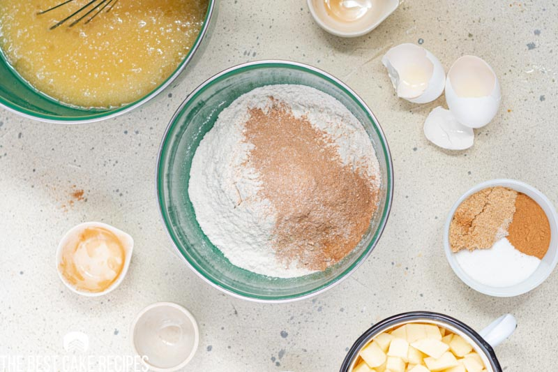 dry ingredients for cake in a bowl