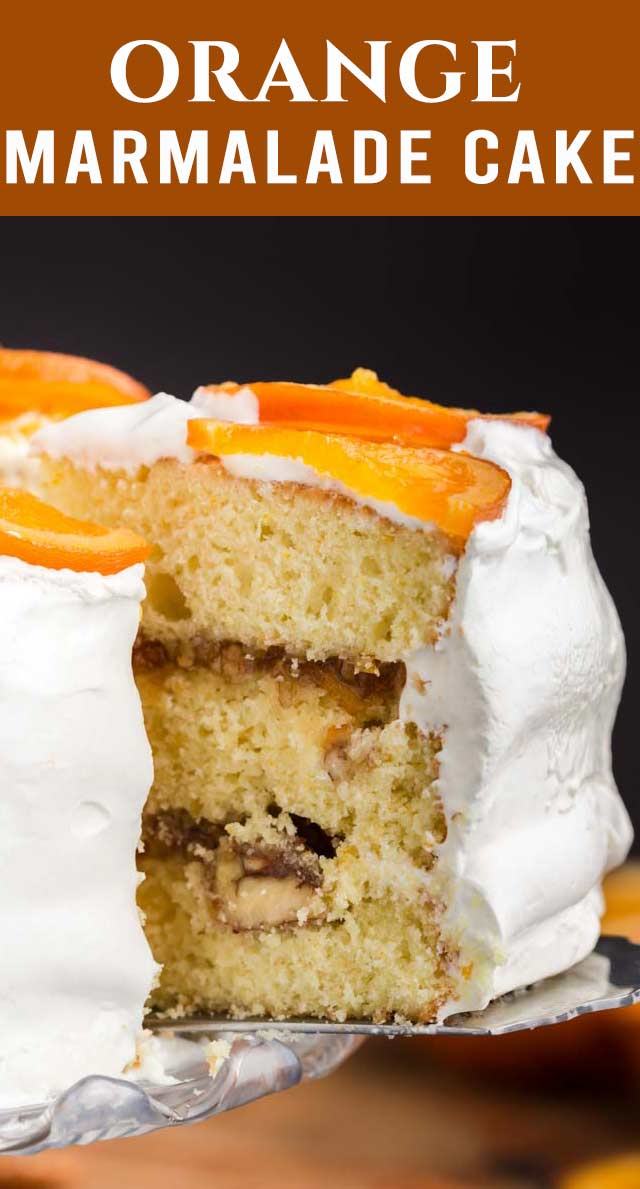 Triple orange flavor in this Orange Marmalade Cake! A two ingredient nut filling and orange fluffy marshmallow like frosting on the outside. via @thebestcakerecipes