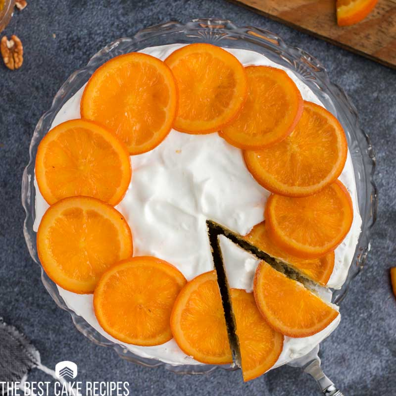 overhead view of a candied orange cake