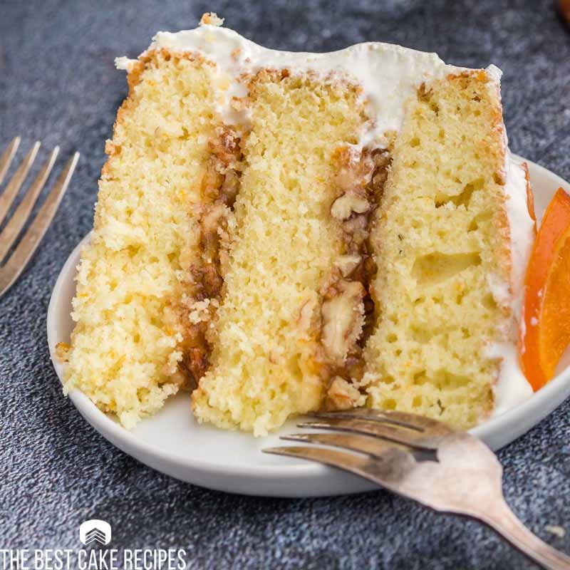 piece of orange marmalade cake on a plate