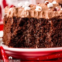 close up of a piece of peppermint hot chocolate poke cake