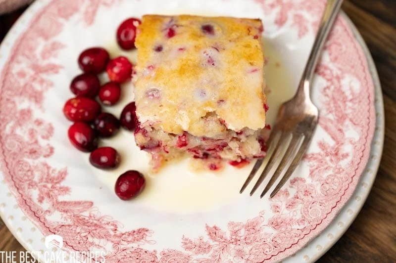 overhead view of a piece of cranberry cake with butter sauce