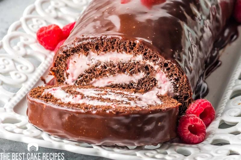close up of chocolate raspberry cake roll slice
