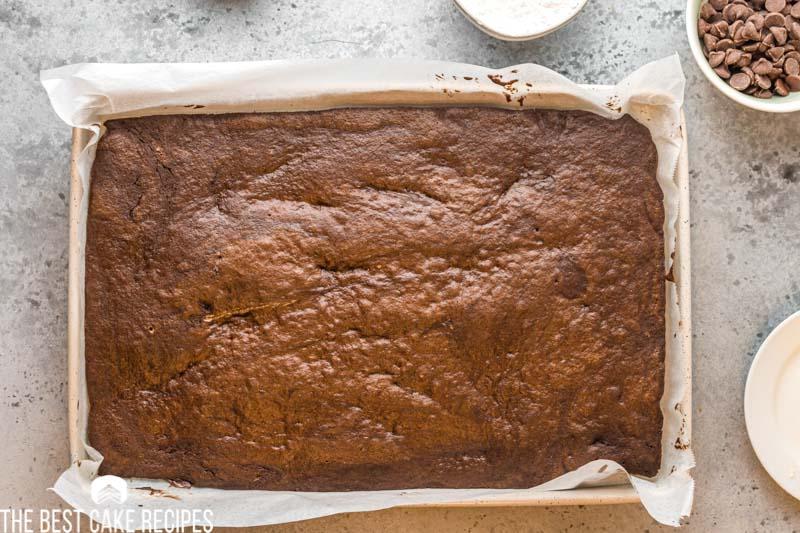 baked chocolate cake in a sheet cake pan