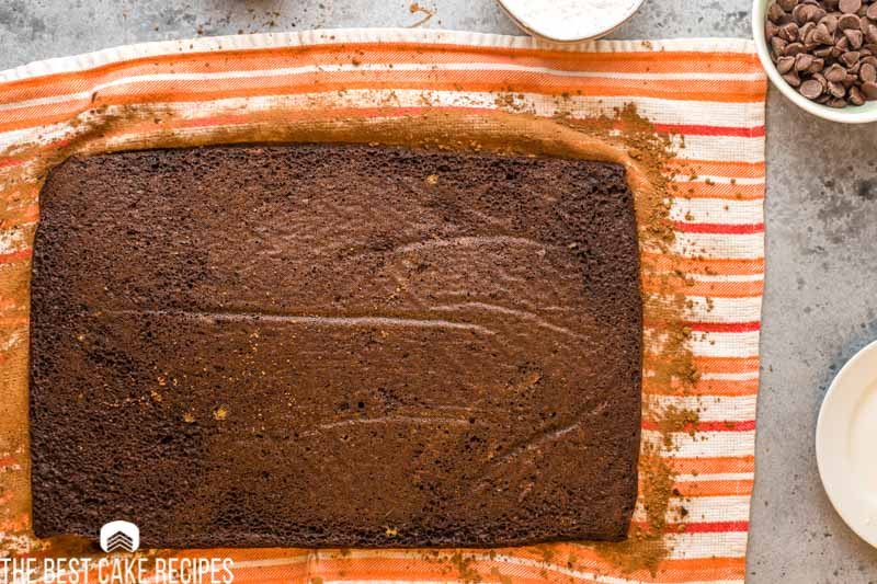 chocolate cake baked and layed on a towel