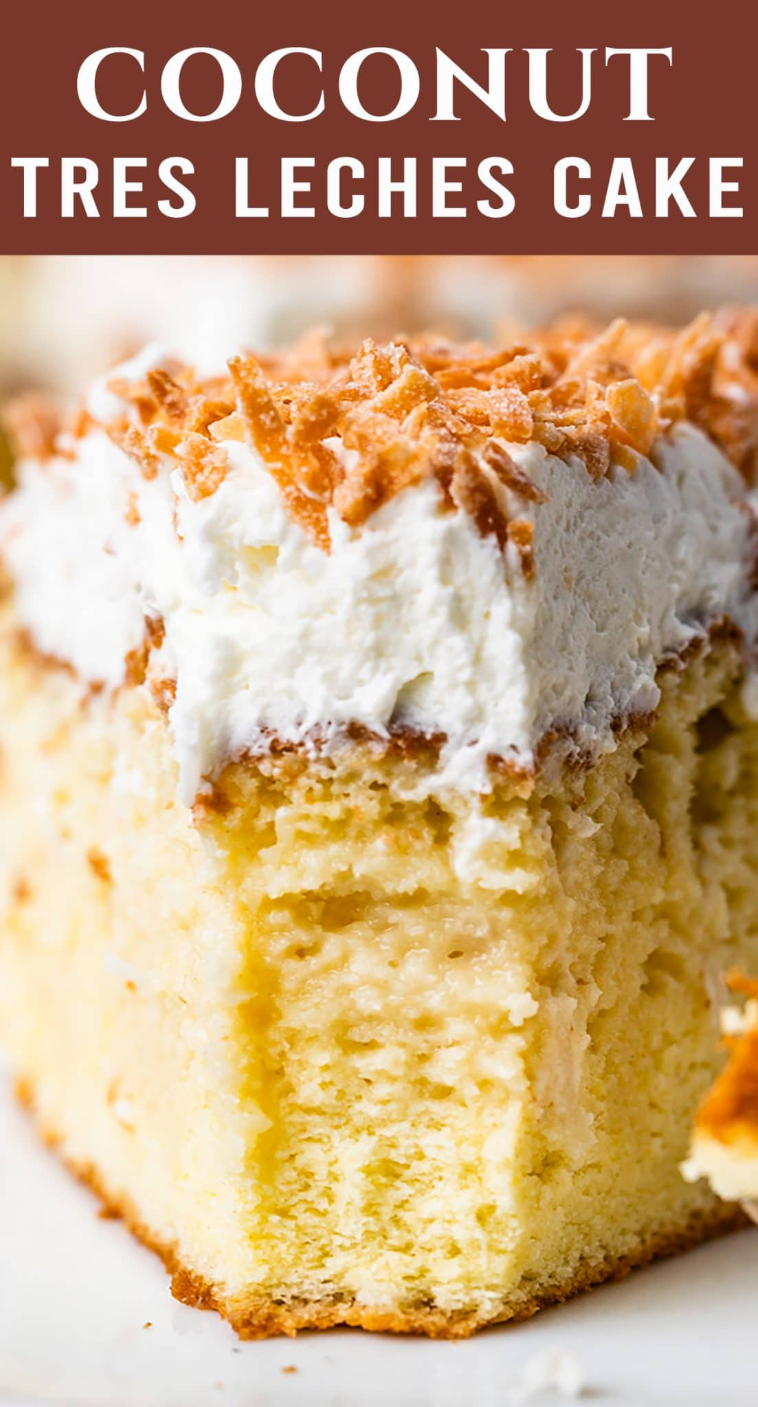 Coconut Tres Leches Cake is the perfect cake for coconut lovers! Three milks soak into the yellow sponge cake. You'll love the lightly sweetened whipped cream. via @thebestcakerecipes