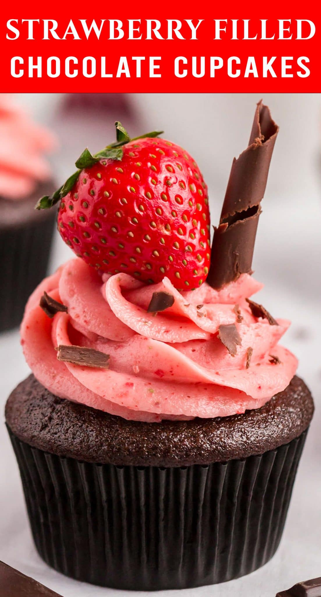 Perfect for Valentine's Day or any day! Soft Chocolate Strawberry Filled Cupcakes have the perfect amount of strawberry flavor. via @thebestcakerecipes