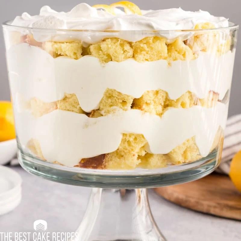 closeup of a lemon trifle