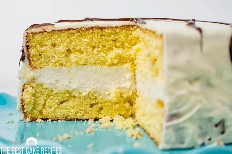 white zebra cake with one piece missing