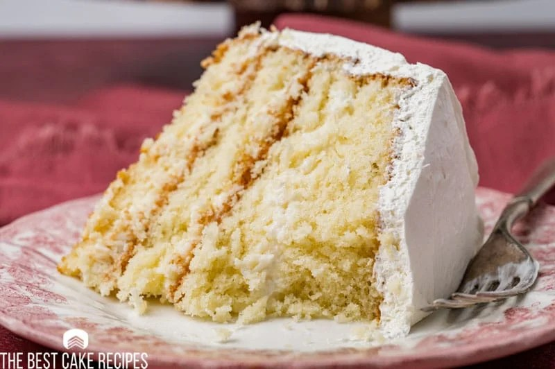 a slice of cake on a plate with one bite missing