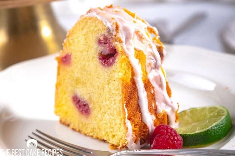 a slice of raspberry cake on a plate
