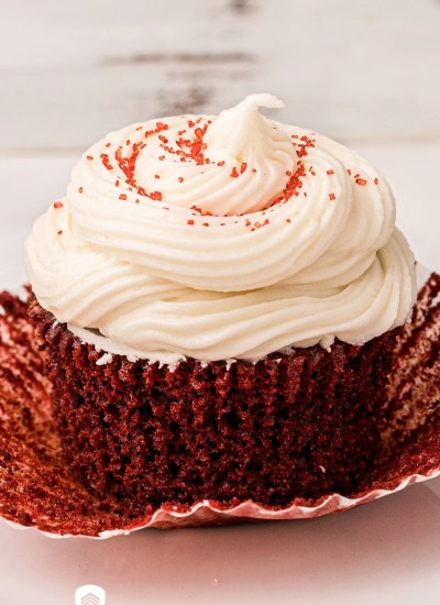 unwrapped cupcake with frosting