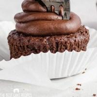 closeup of a fork in a cupcake