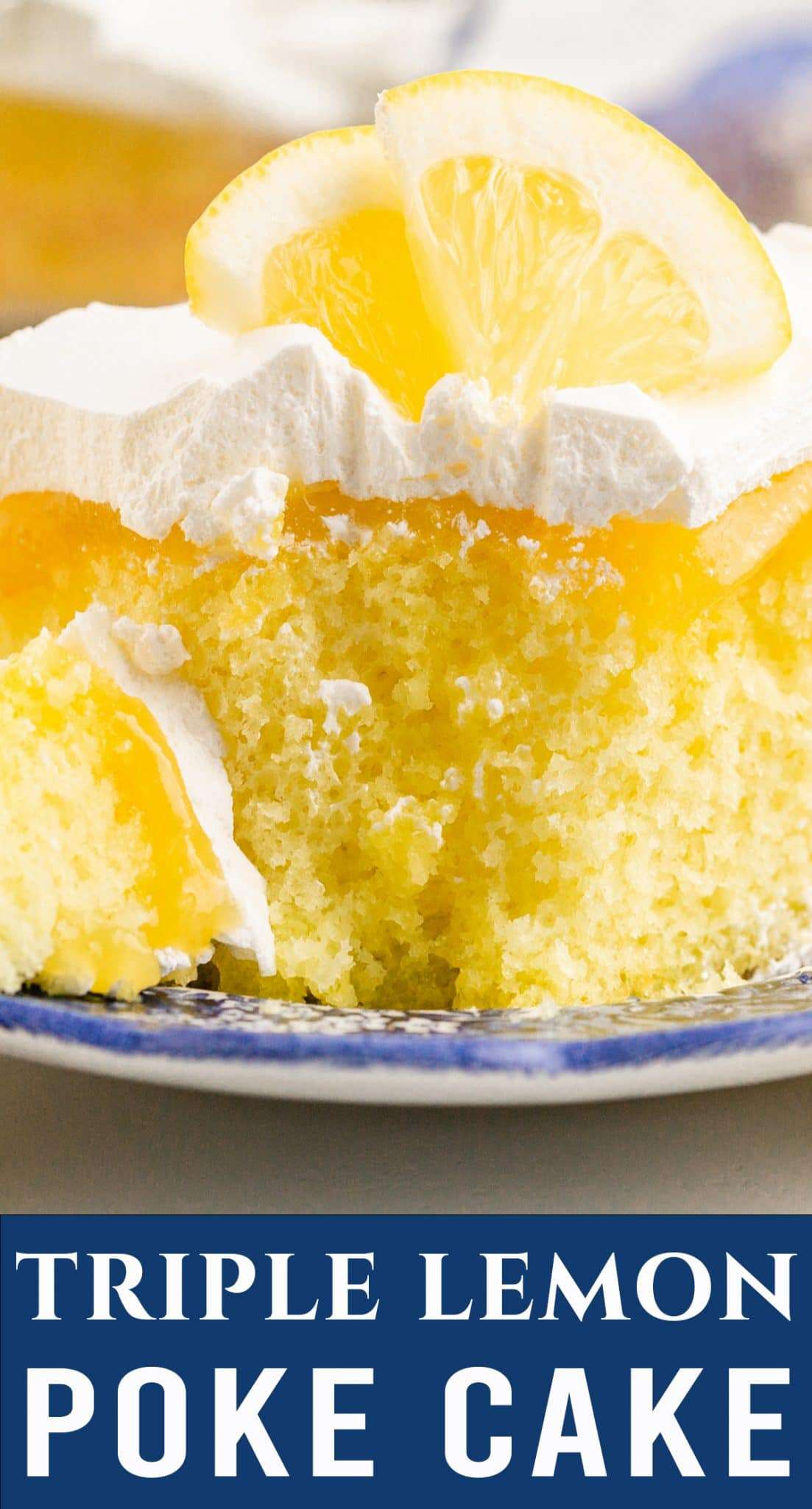 3 layers of lemon in this Triple Lemon Poke Cake. Lemon cake infused with lemon jello, topped with lemon curd and Cool Whip. via @thebestcakerecipes