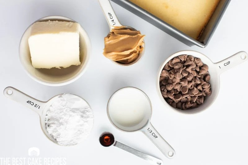 ingredients for peanut butter frosting on a table