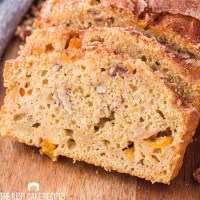 two slices of peach loaf cake