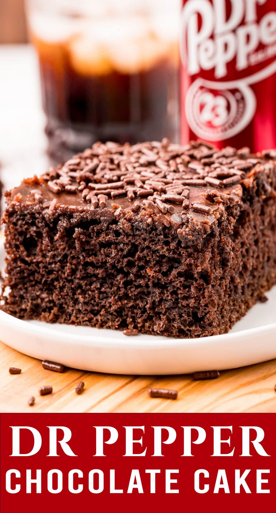 An ultra moist homemade chocolate cake with a twist. Dr Pepper Cake is an easy cake recipe that is lightly sweet. The fudge frosting will melt in your mouth. via @thebestcakerecipes