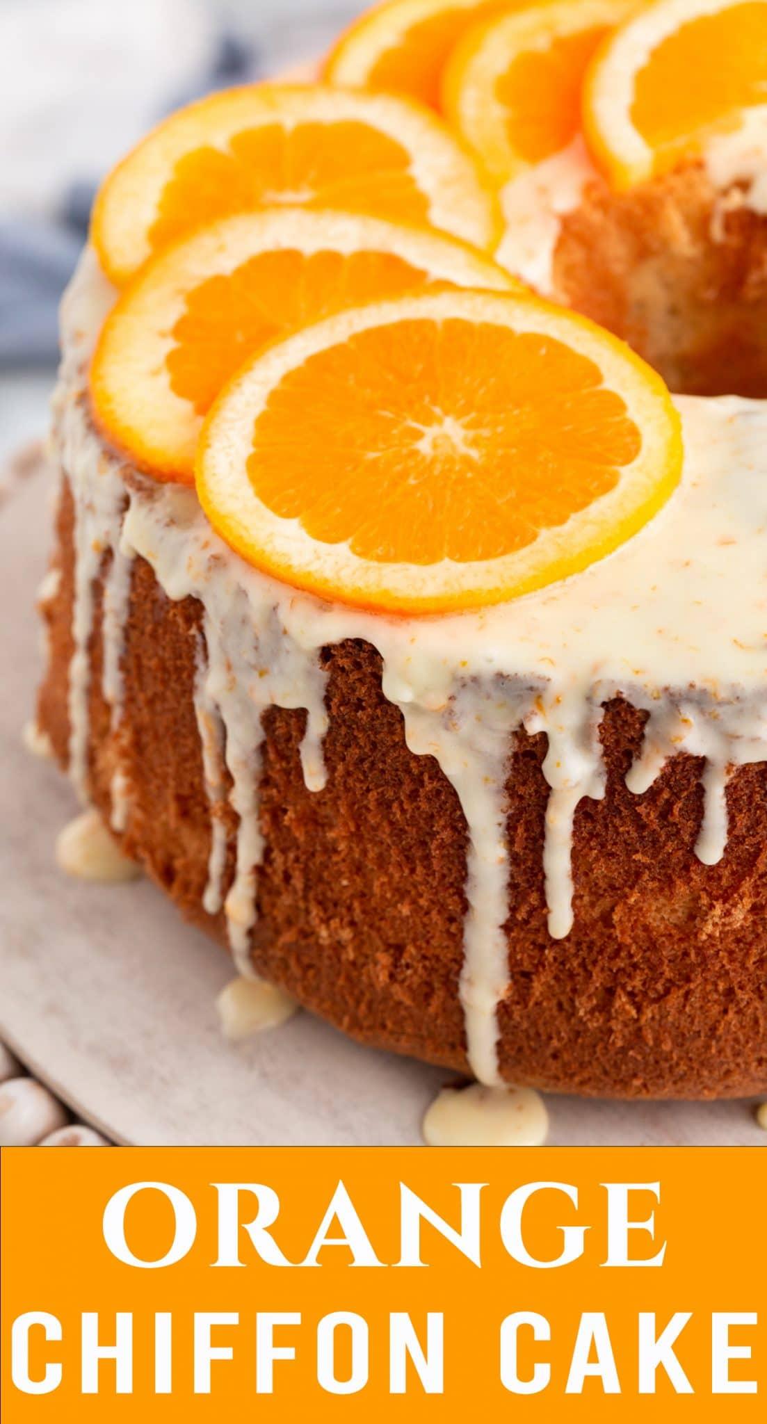 Light, fluffy, orange chiffon cake made with fresh oranges. Make a simple powdered sugar glaze to top the cake for a simply gorgeous dessert recipe. via @thebestcakerecipes