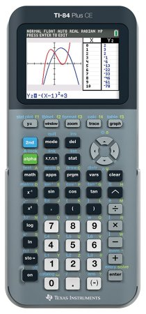 Texas Instruments TI-84 Plus CE Silver Graphing Calculator featuring a gray design but we also observe a darker color around the screen