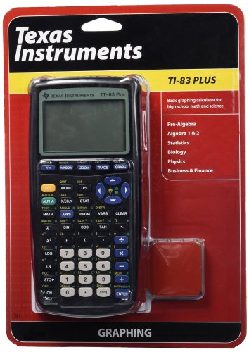 Texas Instruments TI-83 calculator that also has a protective cover in the package