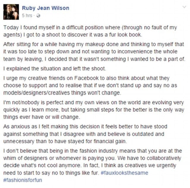 She wrote a post on Facebook to explain the situation and why she decided to leave the shoot