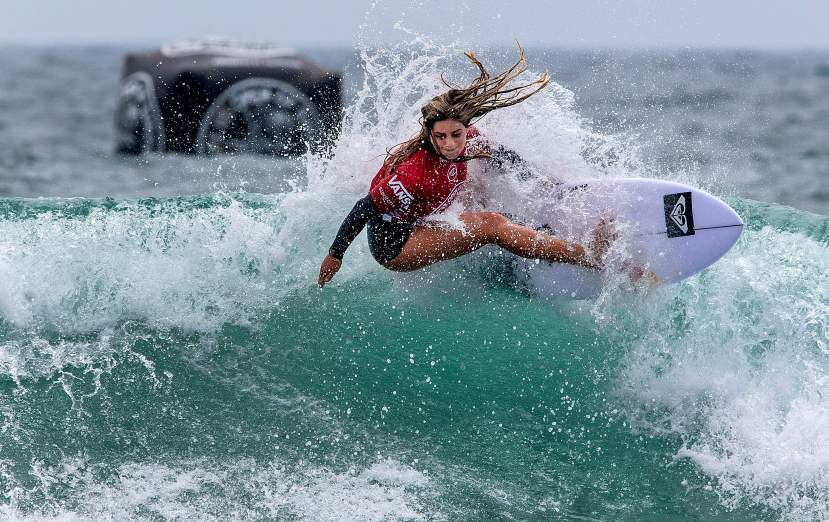 Caroline Marks, a Florida surfer who lives in San Clemente , surfs during her heat at the U.S. Open of Surfing on Tuesday, July 30, 2019 in Huntington Beach. Marks, 17, has just been added to the 2020 Olympic surf roster for team USA. ( Photo by Mark Rightmire, Orange County Register/SCNG)