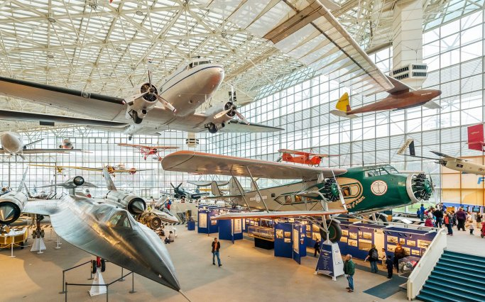Aircraft in the Great Gallery, The Museum of Flight, Seattle, Washington, USA