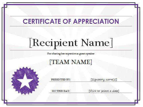 Certificate of appreciation templates and letters the best home certificate of appreciation yadclub Image collections